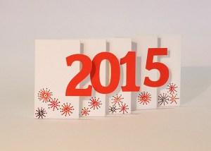 Carte de voeux 2015 MHT Pop up, papier découpé en accordéon, modèle avec motifs dessinés rouges