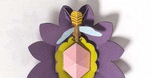 Carte pop-up Fleur et abeille version fleur violet