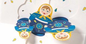 Carte de vœux Matriochkas, bleu, détail intérieur dessus