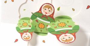 Carte de vœux Matriochkas, vert, détail intérieur dessus