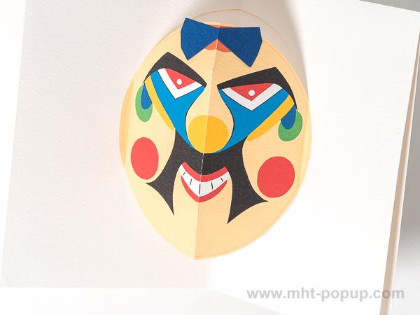Carte pop-up Masques du Vietnam, modèle Grosses moustaches, détail de l'intérieur de la carte