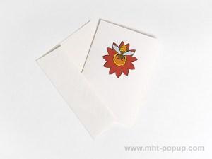 Carte pop-up Fleur avec abeille, rouge, carte avec enveloppe