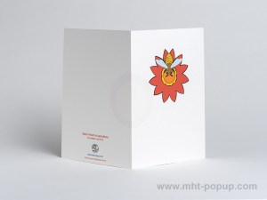 Carte pop-up Fleur avec abeille, rouge, dos carte