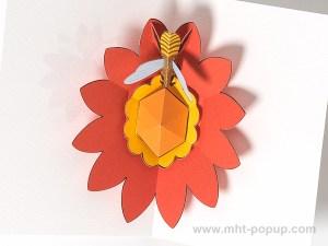 Carte pop-up Fleur avec abeille, rouge, détail intérieur carte