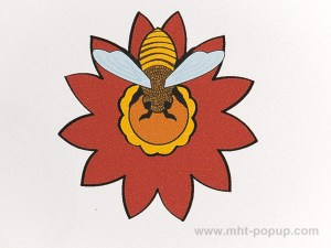 Carte pop-up Fleur avec abeille, rouge, détail recto