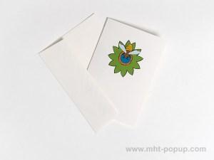 Carte pop-up Fleur avec abeille, vert, carte avec enveloppe