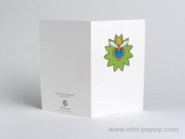Carte pop-up Fleur avec abeille, vert, dos carte