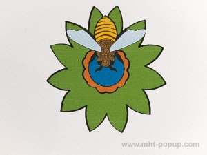 Carte pop-up Fleur avec abeille, vert, détail recto
