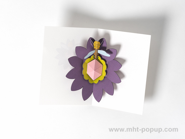 Carte pop-up Fleur avec abeille, violet, intérieur vu de dessus