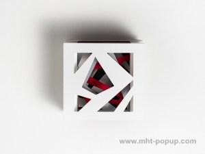 Livre d'artiste tunnel, modèle Abstraction blanc, dessus