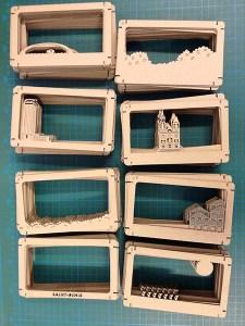 Diorama de Saint-Denis en carton brut. Fabrication des différents plans