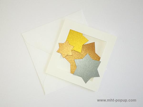 Cartes pop-up forme triptyque avec pliage en accordéon, motifs étoiles en papier or, argent et cuivre, carte avec enveloppe