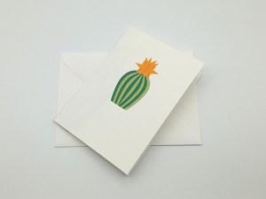 Carte pop-up Fleur de cactus, modèle étoile orange, carte avec enveloppe