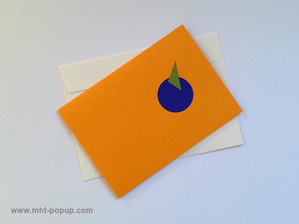 Carte pop-up Spirale motifs abstraits, jaune-bleu-violet, repliée avec enveloppe. Pièce unique signée