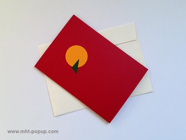Carte pop-up Spirale motifs abstraits, rouge-jaune, repliée avec enveloppe. Pièce unique signée