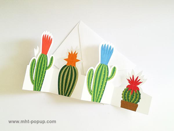 Frise Fleur de cactus, 5 panneaux découpés, avec enveloppe