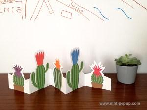 Frise Fleur de cactus, 5 panneaux découpés, une frise dépliée mise en espace