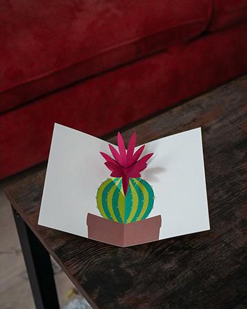 Carte Fleur de cactus Rose mise en scène par Léa Lalonde, agence Boujou bien !