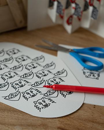 Carte Rencontres attendues Chaperon-Loup en DIY mise en scène par Léa Lalonde, agence Boujou bien !