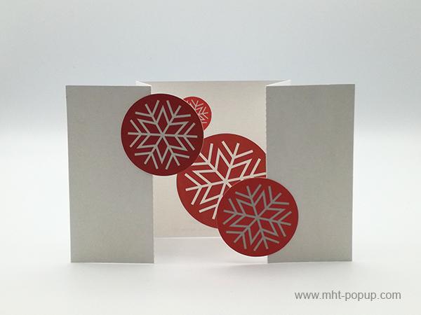 Carte de vœux à volets, motifs flocons rouges, vue de face carte ouverte