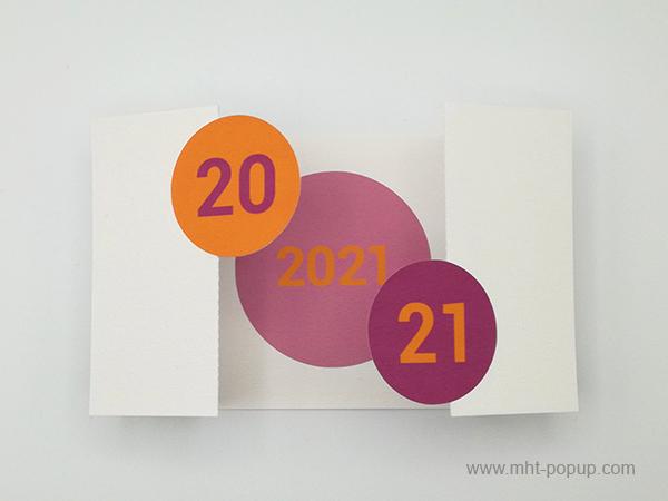 Carte de vœux à volets 2021, version violine-orange, carte ouverte avec motif central parme