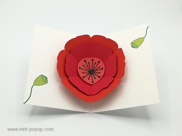 Carte pop-up Coquelicot rouge, vue de dessus de la carte ouverte et des motifs intérieurs