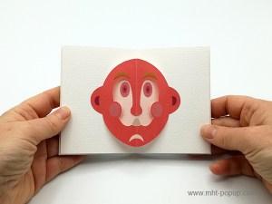 Livre d'artiste accordéon Masques pop-up, double masque rouge, inspiration japonaise