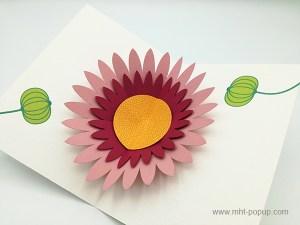 Carte pop-up Marguerite rose, vue détaillée de la carte ouverte et des motifs intérieurs