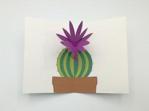Carte pop-up Fleur de cactus, modèle fleur en orchidée violette, vue de dessus