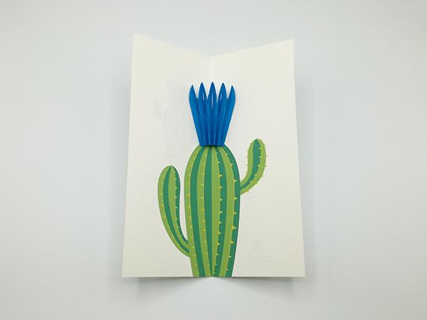 Carte pop-up Fleur de cactus, modèle fleur en éventail bleu, carte vue de dessus