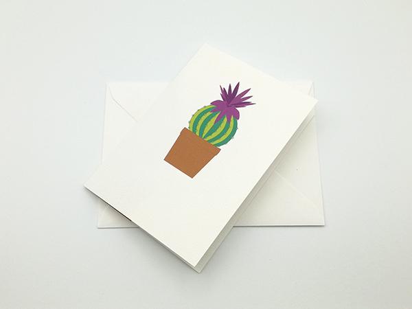 Carte pop-up Fleur de cactus, modèle orchidée violette, carte avec enveloppe