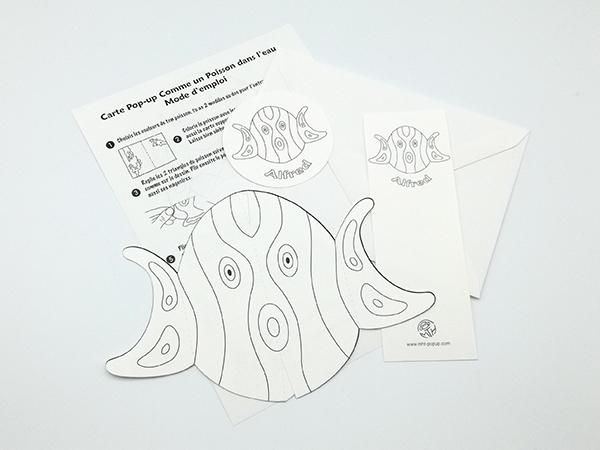 Carte pop-up Comme un poisson dans l'eau en DIY, Alfred, kit d'ensemble