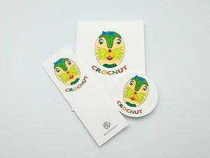 Carte Masque du Vietnam modèle Crocnut, Do It Yourself, ensemble des éléments coloriés