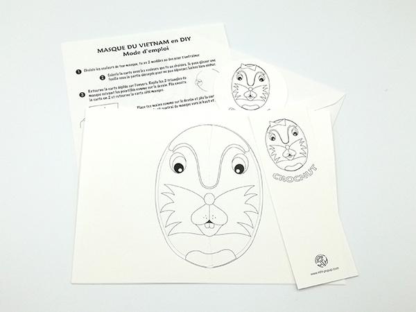 Carte pop-up Masques du Vietnam en DIY, Crocnut, kit d'ensemble