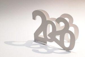 Vœux MHT Pop up 2020, blanc, en papier découpé
