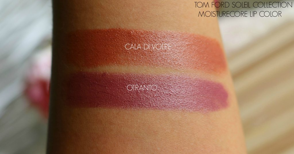 Tom Ford Soleil Collection Moisturecore Lip Colors - Otranto, Cala Di Volpe Swatches