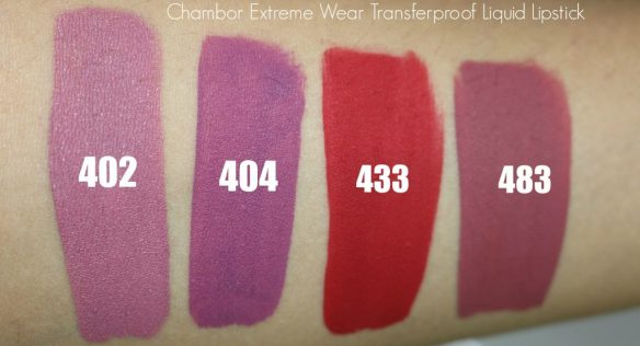 chambor extreme wear transferproof liquid lipstick swacthes