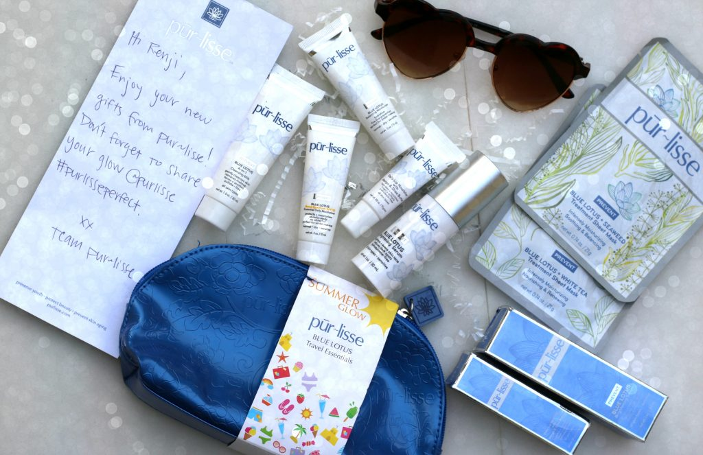 purlisse summer glow blue lotus travel essentials kit