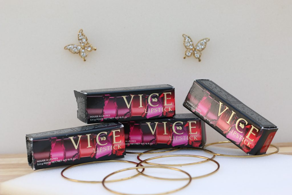urban decay vice lipsticks backtalk, wired, no-tell motel, bittersweet review