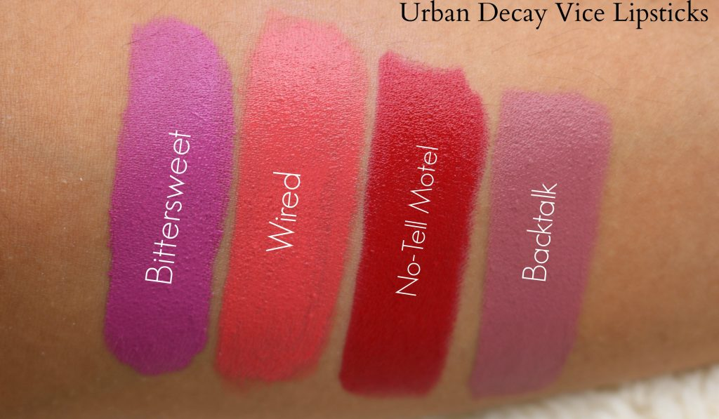 urbandecayvicelipsticks swatches