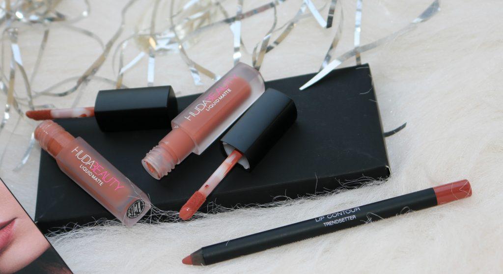 Huda Beauty Lip Contour Set { Liquid Mattes in Trendsetter, Bombshell; Lip Contour pencil in Trendsetter }