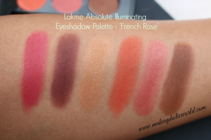 Swatches of Lakmé Absolute Illuminating Eyeshadow Palette - French Rose