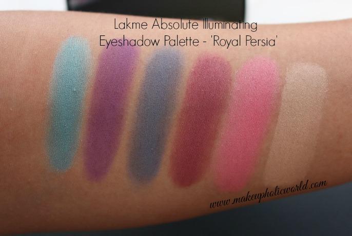 Swatches - Lakme Absolute Illuminating Eyeshadow Palette - Royal Persia