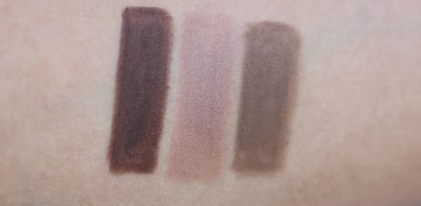 swatches of Jordana Cosmetics Fabubrow Eyebrow Pencil - dark brown.soft brown, light taupe