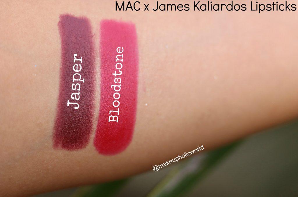 mac james kaliardos lipstick swatches and review