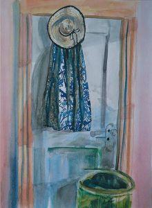 Watercolor Skirt on Closet Door