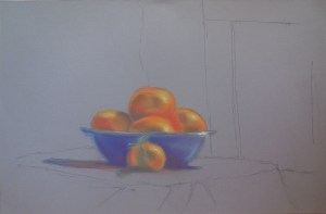 Pastel Bowl of Mandarin Oranges