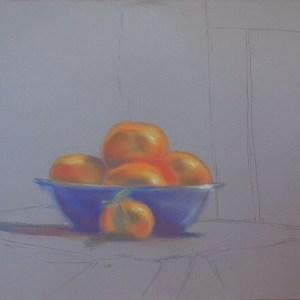 Pastel Bowl of Mandarin Oranges