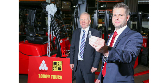 International logistics services and port operations provider Katoen Natie rolls out 1000th Hyster truck