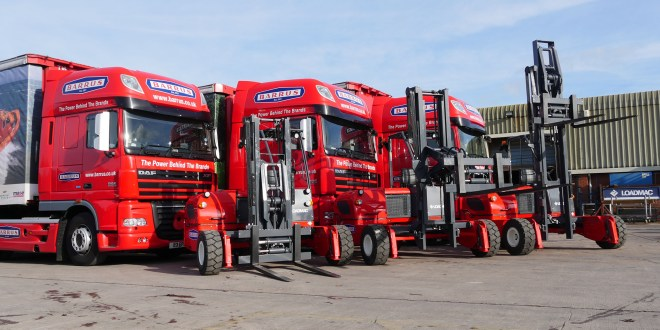 Yanmar engines power three new Loadmac truck mounted forklifts for the Barrus transport fleet.